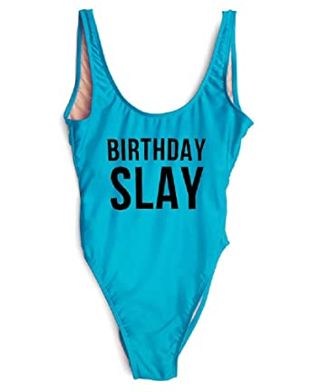 c4305af00d HK One Piece Swimsuit Sexy Birthday Slay Letter Print Girl Swimwear High  Cut Bathing Suit Plus