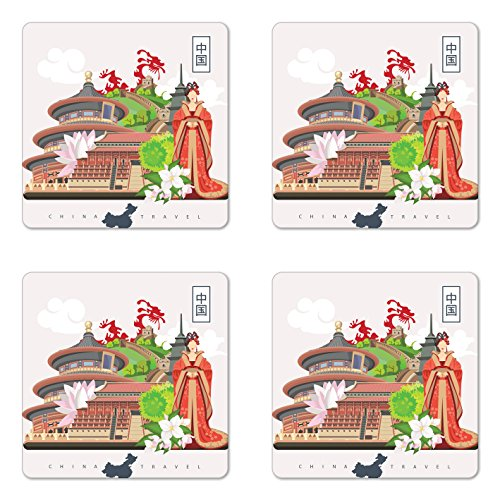 Ambesonne Ancient China Coaster Set of Four, Vintage Style Chinese Attributes of Phoenix Dress Lotus Flower Dragon Palace, Square Hardboard Gloss Coasters for Drinks, Multicolor