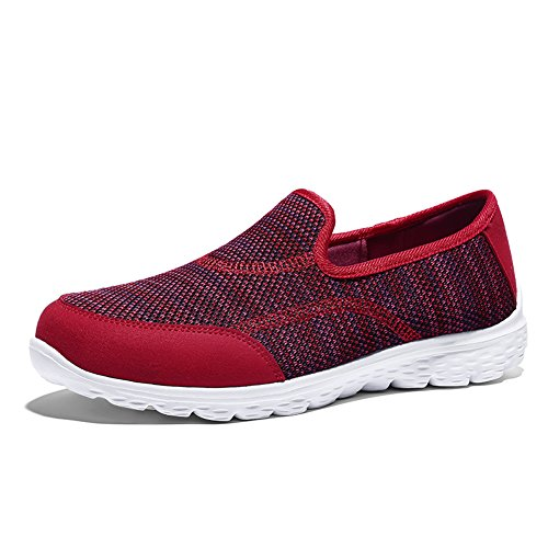 HQUEC Womens Lightweight Walking Shoes Fashion Sneakers Memory Foam Slip On Casual Loafers Red 9US