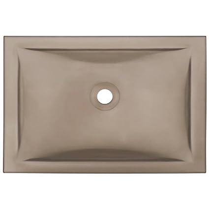 MR Direct UG1913 Taupe Undermount Rectangular Glass Sink