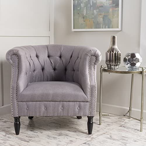 Christopher Knight Home 299496 Akira Arm Chair, Light Grey