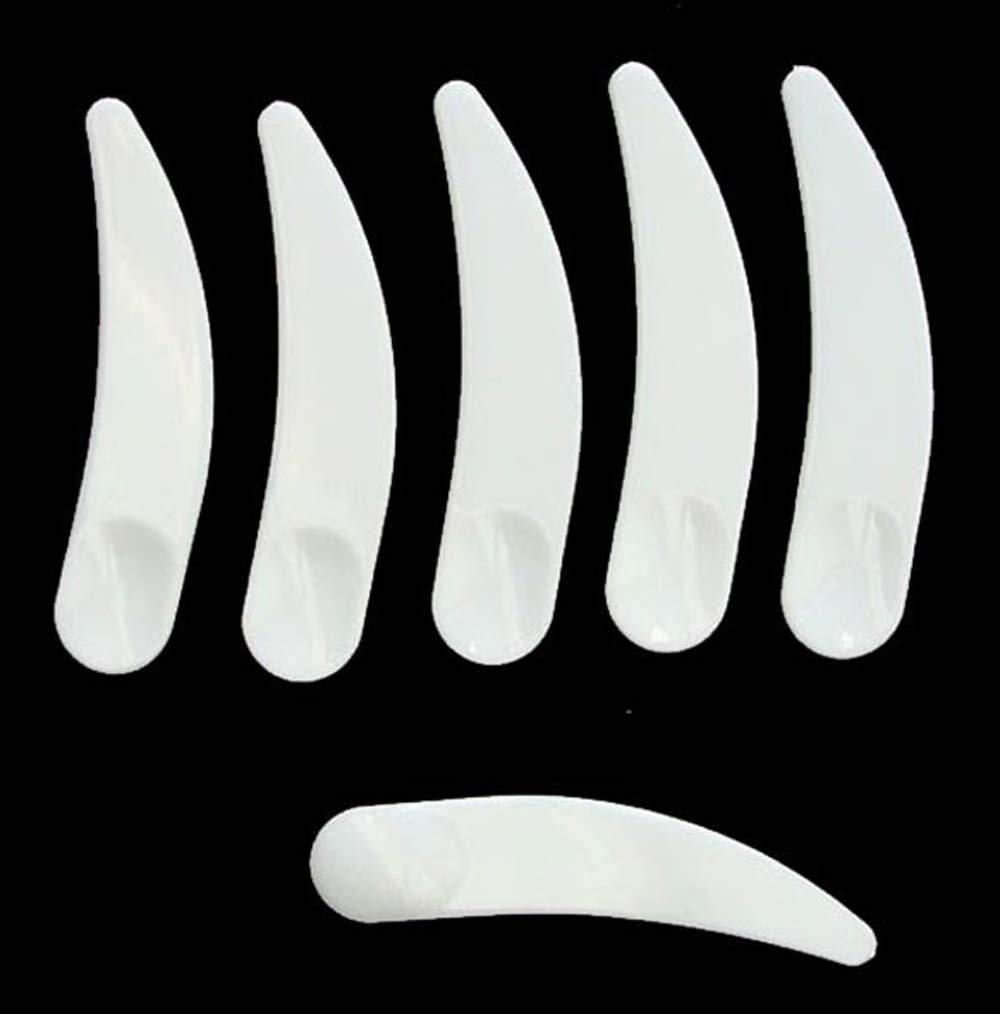 Bekith 600 PCS Disposable Curved Cosmetic Spatula Scoop, White Makeup Mask Spatula Plastic Facial Cream Spoon for Mixing and Sampling