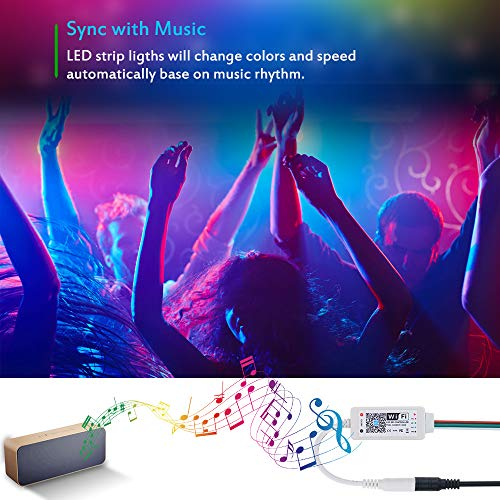 16.4ft 150 LEDs Addressable Dream Color Music Sync Voice Control LED Strip with WiFi Controller and Power Supply Compatible with Alexa Google Home ALITOVE WiFi Smart RGB LED Strip Lights with App