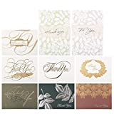 Ailiebhaus 18 Assorted Pack Bronzing Thank You Note Cards - Greeting Cards and Envelopes - 9 Vintage Designs - Blank on the Inside - 7.3 x 5.3 Inches