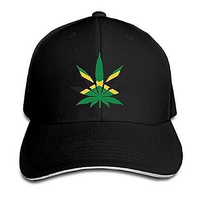Youbah-01 Women's/Men's Weed with Jamaica Flag Adult Adjustable Snapback Hats Peaked Cap