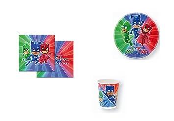 Disney, Pj mask, 0267, Lote basico para fiestas y cumpleaños; 8 vasos