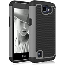 LG Optimus Zone 3 Case, LG Rebel LTE Case, K4 Case, Spree Case, Jeylly [Shock Absorption] Dual Hybrid Defender Cover Case for LG K4 LTE / Spree / Optimus Zone 3 / Rebel LTE - Gray