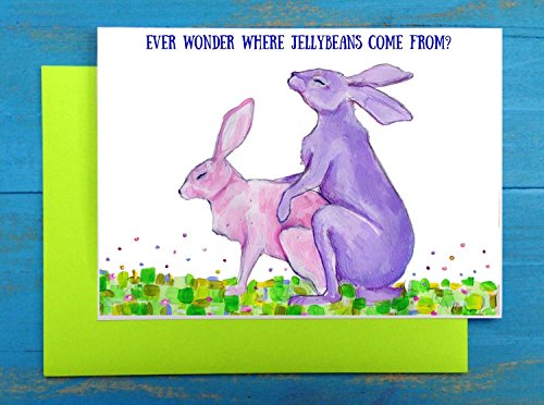 Easter bunny rabbits humping greeting card
