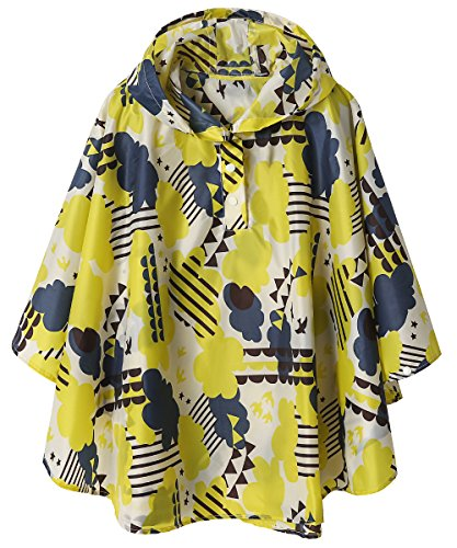 Lightweight Kids Rain Poncho Jacket Waterproof Outwear Rain Coat,Yellow Cloud,L