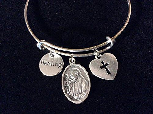 (Healing Saint Pio Charm on a Silver Expandable Adjustable Bangle Bracelet Patron Saint of Healing)
