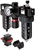 """Parker 07B32A18A2BDC Three-Unit Combo Compressed Air Filter/Regulator/Lubricator, 1/2"""" NPT, Polycarbonate Bowl with Metal Bowl Guard, Manual Drain, 40 Micron, 90 scfm, Relieving Type, 2-125 psi Pressure Range, Gauge"""