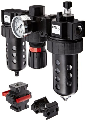 Parker 07B32A18A2BDC Three-Unit Combo Compressed Air Filter/Regulator/Lubricator, 1/2