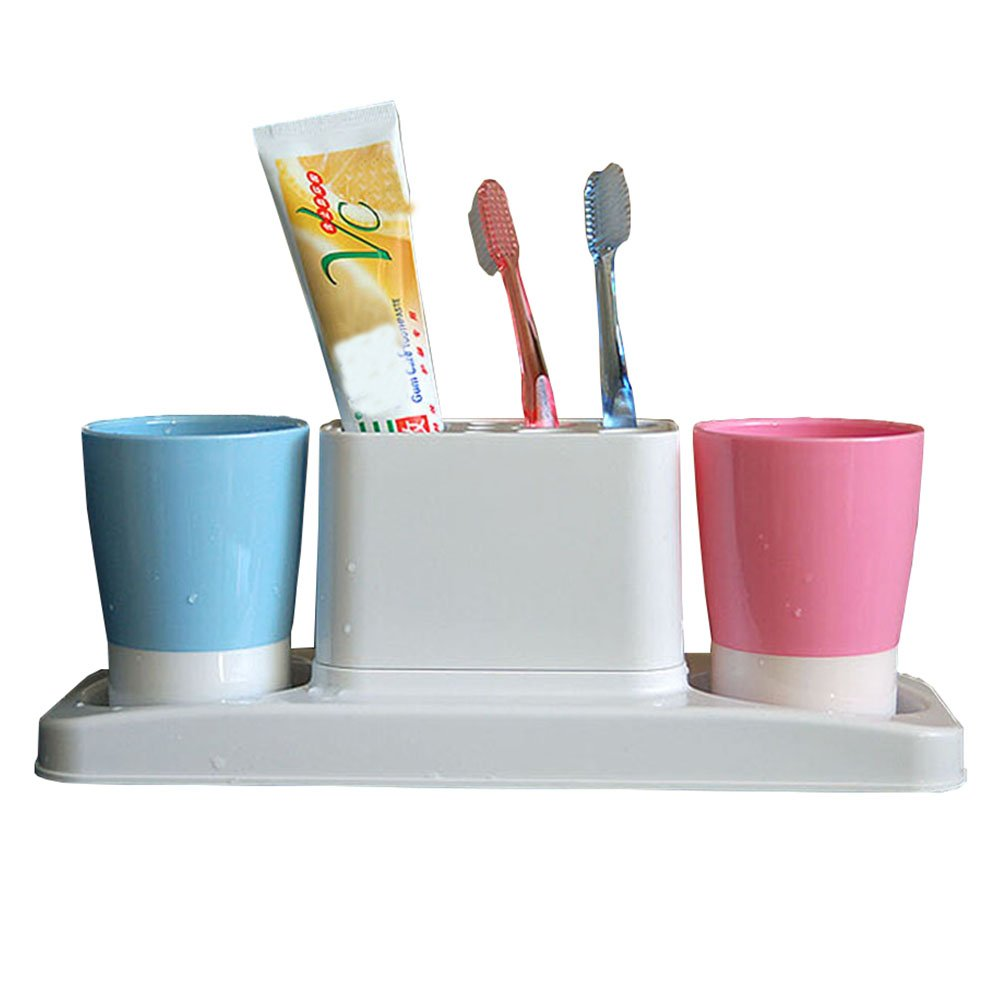 Eslite Bathroom Toothbrush Toothpaste Stand Organizer Plastic Storage Rack Set by Eslite