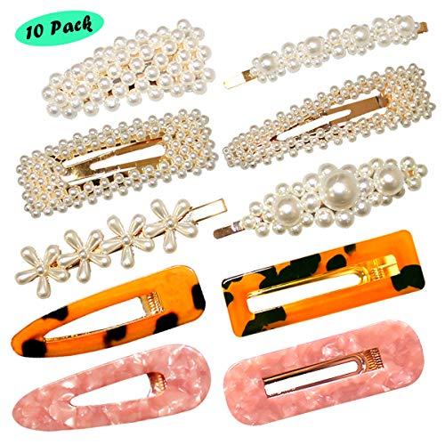 Pearls Hair Clips for Women Girls, 10 pcs Fashion Acrylic Amber Flower Hair Clips Barrettes Styling Bobby Pins Snap Clips Bridal Decorative Hair Accessories for Party Wedding Daily, Applies to Bun