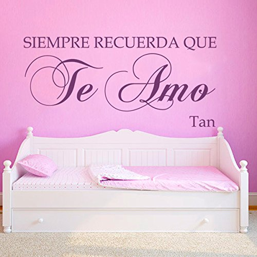 Siempre Recuerda Que Te Amo Custom - Vinyl Spanish Wall Decal Spanish Quote Love Wall Sticker Mural Home Art Decor Dark Brown