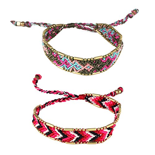 KELITCH Handmade Macrame Colour Candy Wide Bohemia Woven Friendship Bracelet Fashion New Jewelryn (Green Red 01B) by KELITCH