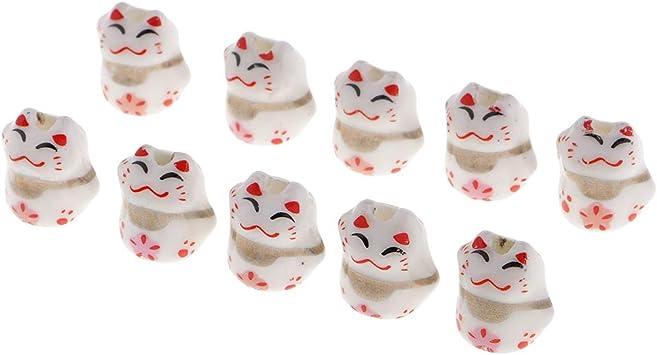 Baoblaze 10 Piezas de Porcelana Cer/ámica Perlas Gato Maneki Neko Porcelana Espaciador Perlas 12x14mm