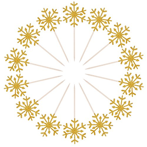 Christmas Wedding Cupcakes - Frienda 30 Pack Snowflake Cupcake Toppers Snowflake Decorations for Kids Birthday Party Christmas Themed Party Baby Shower Wedding Cake Decoration (Gold)