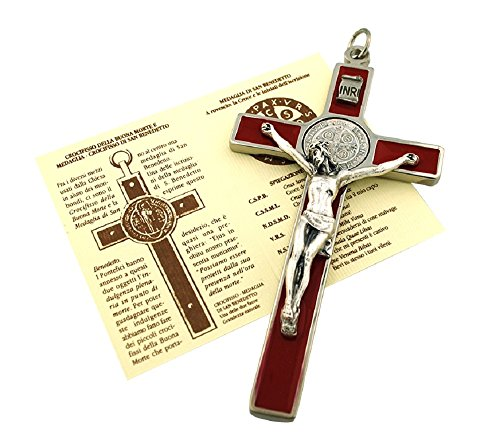 (St. Benedict Wall Crucifix with Colored Enamel and Booklet Explaining The St. Benedict Medal (Red))