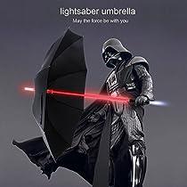 YIER LED Lightsaber Light Up Black Men Umbrella with 7 Color by YIER