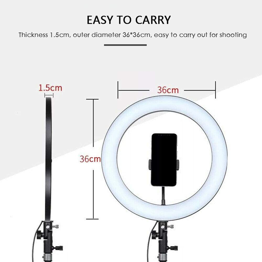JASZW 14 288PCs LED Ring Light Dimmable 5600K for Smartphone//Camera with Light Stand