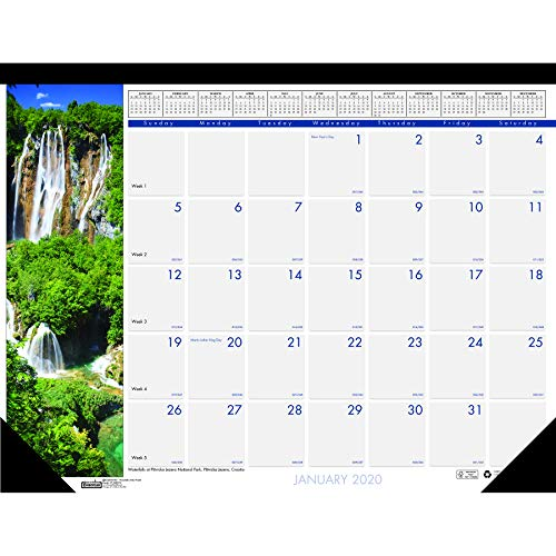 House of Doolittle 2020 Monthly Desk Pad Calendar, Earthscapes Waterfalls, 22 x 17 Inches, January - December (HOD171-20) ()