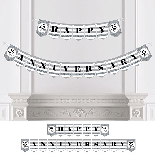 Big Dot of Happiness We Still Do - 25th Wedding Anniversary Party Bunting Banner - Silver Party Decorations - Happy Anniversary