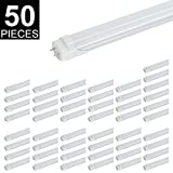 CNSUNWAY T8 LED Light Tube, 4FT, 22W (45W Fluorescent Replacement), 6000K (Cool White), 2310LM, Frosted Cover, Dual-End Powered, Two Pin G13 Bulbs, Works Without Ballast (25-Pack) (Frosted Cover, 50)