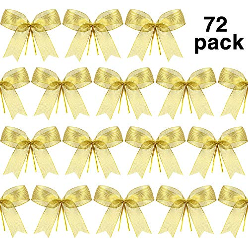 Bows Christmas Trees - Sumind Christmas Bow Ribbon Bow for Christmas Tree, Christmas Wreath, Gift Decoration (72 Pieces)