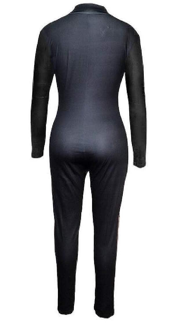 KLJR Women Club Contrast V Neck Long Sleeve Zip-Up Bodycon Rompers Jumpsuit
