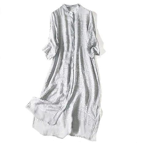 Vestido de Mujer Cuello Alto de Seda quemada Plateada Vestido ...