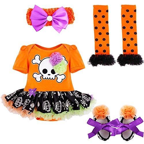 iiniim Baby Girl's Halloween Pumpkin Tutu Romper Outfits Headband Leg Warmer Shoes