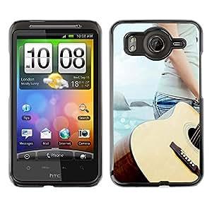 TopCaseStore / la caja del caucho duro de la cubierta de protección de la piel - Music Guitar Beach - HTC G10
