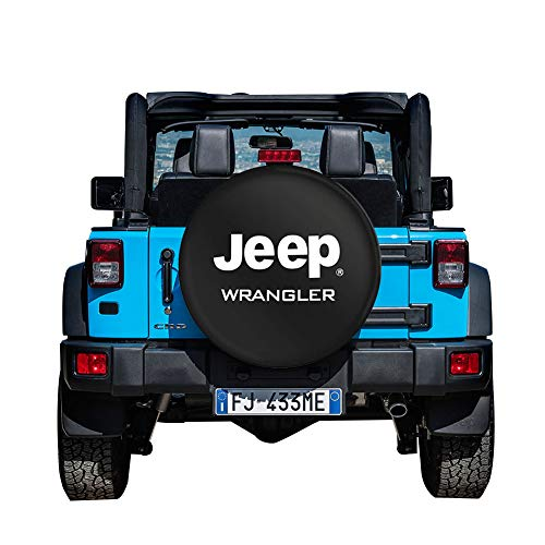 Autoca 17inches Spare Tire Cover Wheel Protectors Weatherproof PU Leather for Jeep Wrangler YJ TJ JK JL(Black,Tire Diameter 31