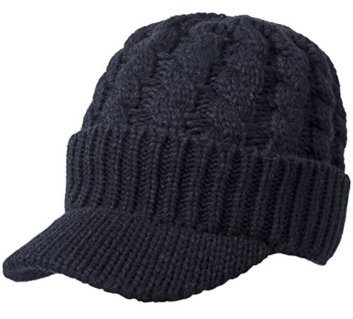 Sierry Cable Knit Hat, Warm Knit Beanie Winter Caps with Visor Brim (Black Cable Womens)