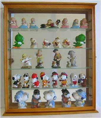 Charmant Action Figures / Figurines Shadow Box Wall Curio Display Cabinet Case  Oak  Finish