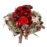 Dibor Bacca Rossa in Legno Natalizio Pino Cono Quadrato, portacandele