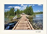 11 x 14 mat including wall art photograph of wooden bridge over tranquil lake and green forest at Grand Tetons National Park, Wyoming. Photography of nature landscape, water and clouds.