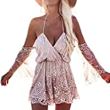 kaifongfu Women Jumpsuit,Clearance ! Sexy Sequin Bodysuit For Women Summer Beach Club Elegant Sequined Lace Jumpsuit (L, Rose Gold)