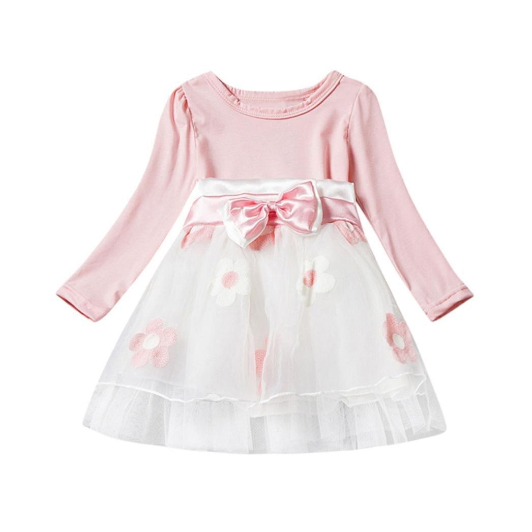 8f12e47b0eea2 Amazon.com: Gotd Toddler Infant Baby Girl Flower Bowknot Fold Tulle ...