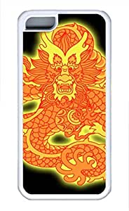 Brian114 iPhone 5C Case - China Dragon Oriental Style 31 Soft Rubber White iPhone 5C Cover, iPhone 5C Cases, Cute iPhone 5c Case