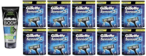 Gillette Body Non Foaming Shave Gel for Men, 5.9 Fl Oz + Sensor3 Refill Blades 8 Ct. (10 Pack) + FREE Assorted Purse Kit/Cosmetic Bag Bonus Gift by GlLLETTE