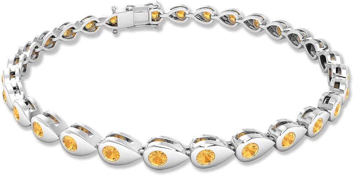 Gemstone Bracelet Tennis Bracelet Natural Citrine Bracelet Yellow Stone Bracelet November Birthstone 925 Silver Bracelet Gift For Her