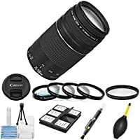 Canon EF 75-300mm f/4-5.6 III Telephoto Zoom Lens Bundle + Digideals Cleaning Kit with Memory Wallet + Lens Cleaning Pen + Lens Blower Brush + HD U.V. Filter + Macro 4pc Close Up Lenses ( +1, +2, +4, +10 )
