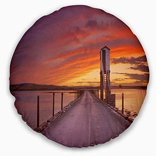 Designart CU11556-16-16-C Holy Island of Lindisfarne Panorama' Wooden Sea Bridge Throw Cushion Pillow Cover for Living Room, Sofa, 16'' Round, Pillow Insert + Cushion Cover Printed on Both Side by Designart