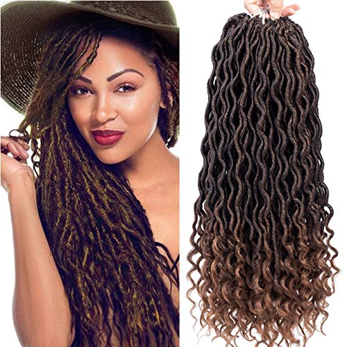 Karida 6Pcs/Lot Curly Faux Locs Crochet Hair Deep Wave Braiding Hair With Curly Ends Crochet Goddess Locs Synthetic Braids Hair Extensions (18inch, T1B/30#) ()