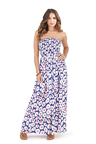 Long Tall Poppies (Pistachio, Ladies Bandeau Strapless Tropical Floral Maxi Dress, Blue Poppy, Small (UK 8-10))