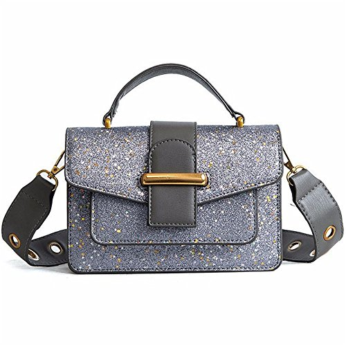Bag Everyday Bag Use Asdflina Square Capacity For Shoulder Silver Suitable Pu Buckle With Retro Large Messenger Sequined Simple wva4wq