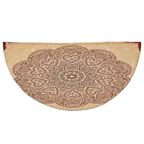 - Half Round Door Mat Entrance Rug Floor Mats,Beige,Ethnic Heart and Tulip Motifs Antique Floral Oriental Asian Vintage Styled Boho Chic Decorative,Chocolate Beige,Garage Entry Carpet Decor for House Pa