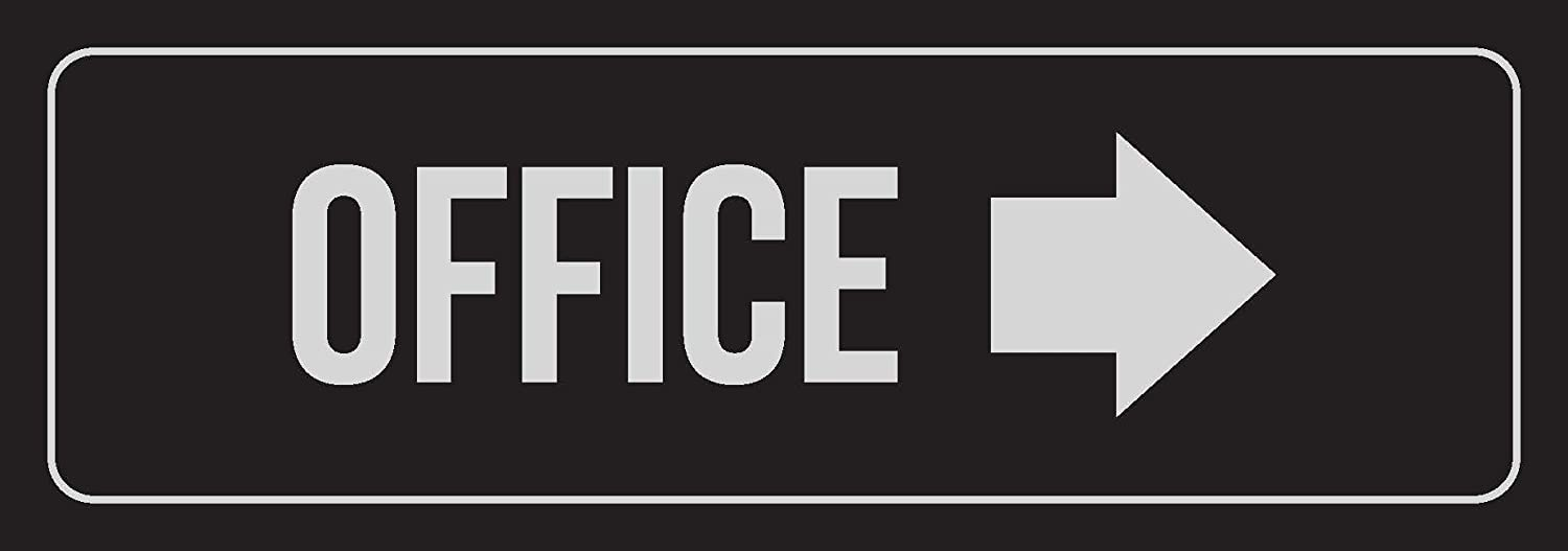iCandy Combat Black Background with Silver Font Office - Right Arrow Business Retail Outdoor & Indoor Plastic Wall Sign - Single, 3x9